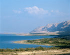 Israel, the Judean Hills and the green coastline and the Dead Sea