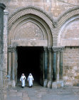 Israel, Jerusalem, the Holy Sepulchre, two nuns coming out of the south door