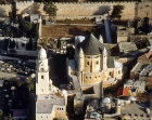 Israel, Jerusalem aerial view of Mount Zion, the Church of the Dormition and the south city wall