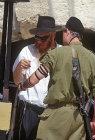Israel, Jerusalem, soldier recieving Tefillin shel yad at Western Wall