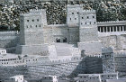 Antonia fortress, detail of model of Jerusalem at the time of the Second Temple, designed by Michael Avi Yonah in 1966, originally in Holy Land Hotel, now in Israel Museum, Jerusalem, Israel