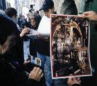 Israel, Jerusalem, Via Dolorosa, Good Friday Procession, Pilgrims buying religious souvenirs