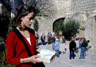 Christian girl at bible reading near Garden Tomb, Jerusalem, Israel