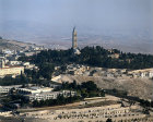 Israel, Jerusalem,  aerial view of the Tower of the Ascension on the Mount of Olives