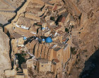 Mar Saba Greek Orthodox monastery, founded by Sabas in fifth century, south east of Jerusalem, aerial view from south east, Israel
