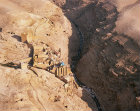 Mar Saba Greek Orthodox monastery, founded by Sabas in fifth century, and gorge on right, south east of Jerusalem, aerial view looking north, Israel