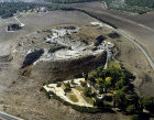 Megiddo, city founded before 3,000 BC, aerial view from the north,  Israel