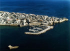 View of city, yacht marina and city walls, aerial, Acre, Israel