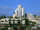 Israel, Jerusalem, the Montefiore windmill and the Sheraton hotel