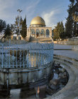 Israel, Jerusalem, the Dome of the Rock and the Ablutions Fountain in the foreground