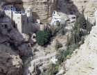Israel,  aerial view of St Georges Monastery in Wadi Qilt between Jerusalem and Jericho