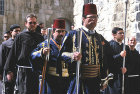 Israel, Jerusalem, Easter Sunday Procession to the Holy Sepulchre Church, two Turkish Guards and friars