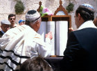 Israel Jerusalem Jew reading the Torah before a Bar mitzvah cermony