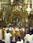 Easter Sunday Roman Catholic Mass in Holy Sepulchre Church, Jerusalem, Israel