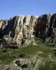 Israel, Mount Arbel, aerial view of caves occupied from the 2nd century BC