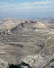 Israel Herodium, aerial long shot looking south east towards the Dead Sea