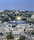 Israel, Jerusalem, the Dome of the Rock, Temple area and the Mount of Olives from the Lutheran Tower
