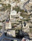 Israel, Bethany aerial view of St Lazarus, Martha and Mary, Franciscan Church, El Azariye Greek Orthodox church