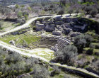 Israel, Sebaste, aerial view of 3rd century AD Roman theatre, Hellenistic tower and ruins of Hellenistic wall