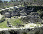 Israel Sebaste, aerial view of 3rd century Roman theatre, Hellenistic tower and ruins of Hellenistic wall