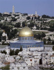 Israel, Jerusalem, the Dome of the Rock and Mount of Olives beyond seen from the Lutheran Tower