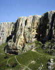 Mount Arbel, aerial view of the caves occupied from the second century BC, Israel