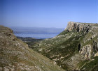 Israel, Mount Arbel, aerial view looking east to the Sea of Galilee