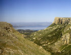 Mount Arbel, aerial view looking East to Sea of Galilee, Israel