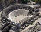 Israel, Beth Shean,  aerial view of theatre from the north east