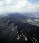 Israel, aerial view of Mount Gilboa showing zigzag road to the summit