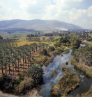 Israel, aerial view of Ein Harod river below Mount Gilboa