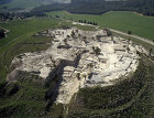 Megiddo, aerial view of excavations of eighteenth to seventh century BC fortress, aerial view looking west, Israel