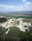 Megiddo, city founded before 3,000 BC, aerial long shot looking south east, Israel