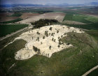 Megiddo, city founded before 3,000 BC, aerial long shot looking north, Israel