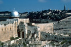 Israel, Jerusalem, the El Aksa Mosque and City Wall excavations in the foreground and the Mount of Olives