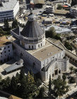 Israel, Nazareth, aerial view of the Church of the Annunciation