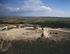 Israel, Tel Hazor, aerial view looking south towards the sea of Galilee