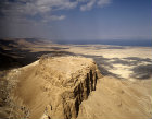 Israel, aerial view of Masada from the south east, Dead Sea beyond