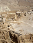 Israel, Masada aerial close up of north end storerooms cisterns and synagogue
