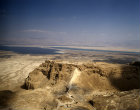 Israel, aerial view of Masada from the west, Roman ramp, Dead Sea and Hills of Moab