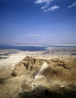 Israel, Masada, aerial view from the west, ramp front with Dead Sea and the Hills of Moab behind