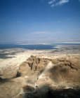 Israel, Masada, aerial view of the ancient fortification on eastern edge of the Judean desert,  from the south west