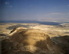 Israel, Masada, aerial view from the south west, ramp highlighted on the left  with Dead Sea behind