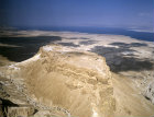 Israel, aerial view of Masada from the south west showing the Roman ramp with the Dead Sea behind
