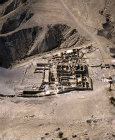 Israel, aerial view of Qumran from the east, the Essene settlement