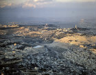 Israel, Jerusalem, aerial from the south west,  City of David in the  foreground, Mount of Olives and the  Tower of the Ascension in the distance