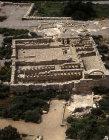 Restored fifth century farm unit, aerial, Ramat Hanadiv, Israel