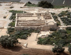 Israel, Ramat Hanadiv, inhabited during Phoenician, Roman and Byzantine periods, aerial view of partially restored remains