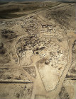 Israel, Tel Arad in the Negev, aerial view of lower bronze age city showing Israelite walls, ninth to eighth century BC