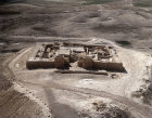 Israel, Tel Arad in the Negev, aerial view of citadel and temple